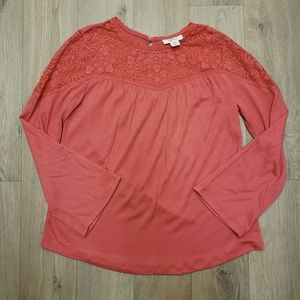 Style & Co Coral Long Sleeve Boho Top Size XS